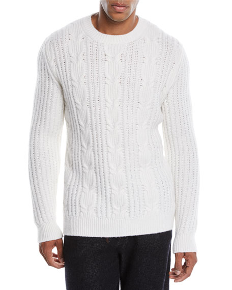 Men's Cable-Knit Cashmere Pullover Sweater