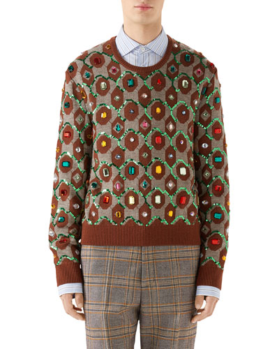 Men's Jewel-Embellished Jacquard Sweater
