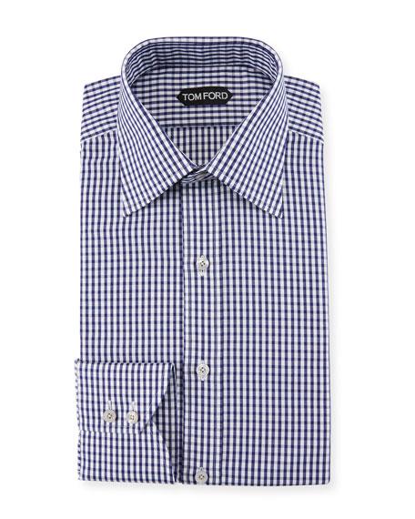Men's Gingham Classic-Collar Dress Shirt