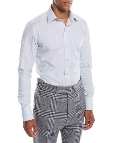 Men's Small Optical Check Pointed-Collar Dress Shirt