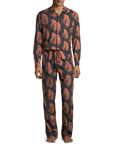 Men's Tiger-Print Lounge Shirt