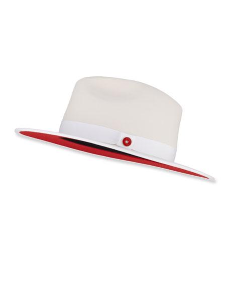 Queen Red-Brim Wool Fedora Hat, White