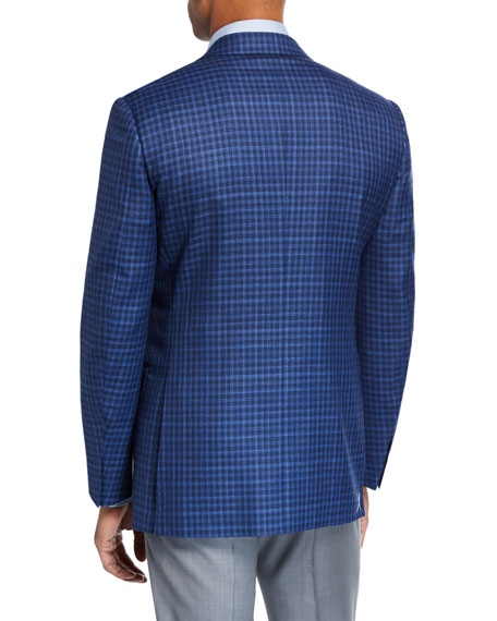 Men's Gingham Check Wool Two-Button Jacket