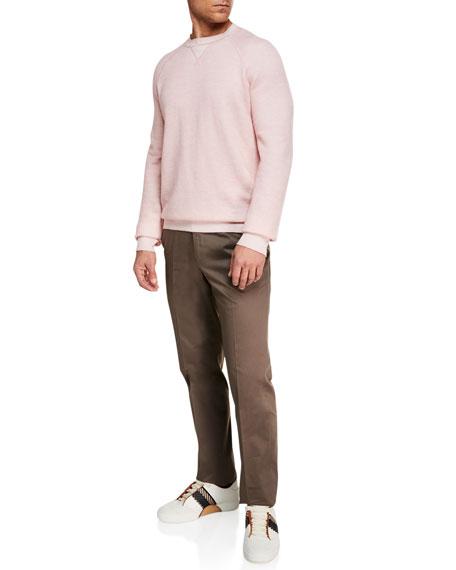 Men's Cotton Sateen Flat-Front Pants, Brown