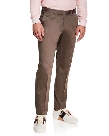 Image 1 of 1: Men's Cotton Sateen Flat-Front Pants, Brown