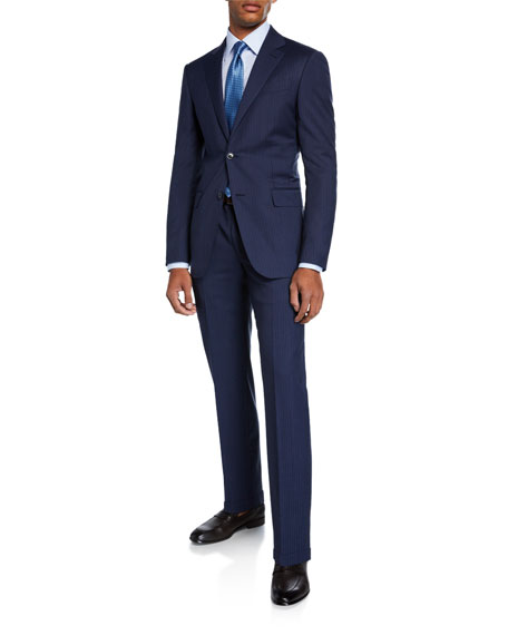 Men's Bead Striped Two-Piece Wool Suit