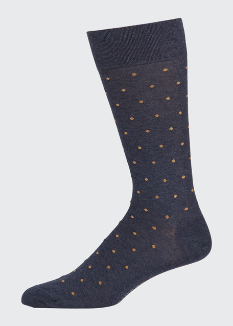 Image 1 of 1: Men's Dot-Pattern Cotton Socks