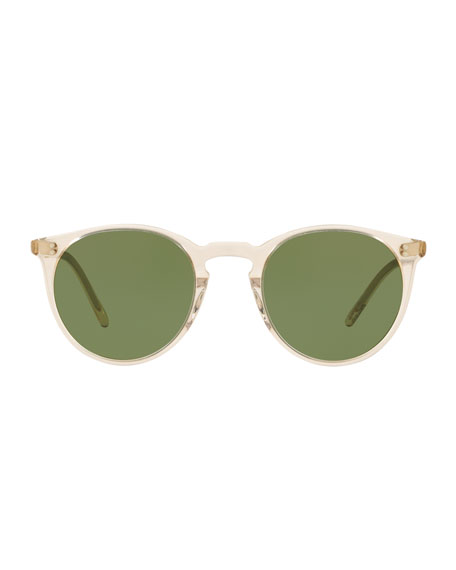 Men's O'Malley Peaked Round Sunglasses with Mineral Glass Lenses - Buff Green