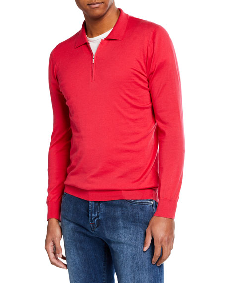 Men's Berry Long-Sleeve Zip Polo Shirt