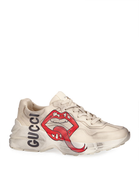 Gucci Men's Rhyton Leather Sneakers with Mouth Print