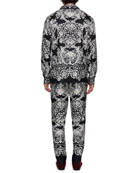 Men's Lace Print Silk Pajama Top