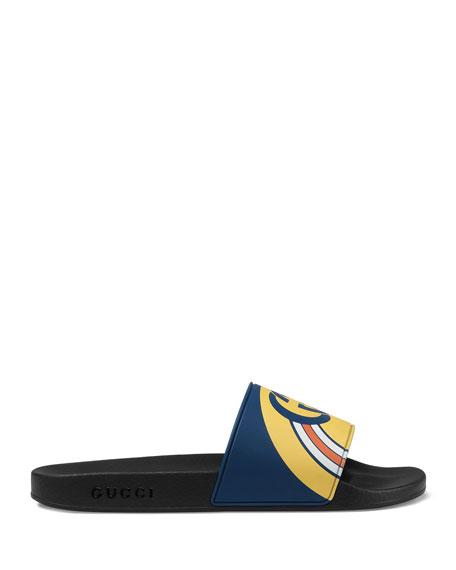Men's Interlocking G Rainbow Rubber Slide Sandals