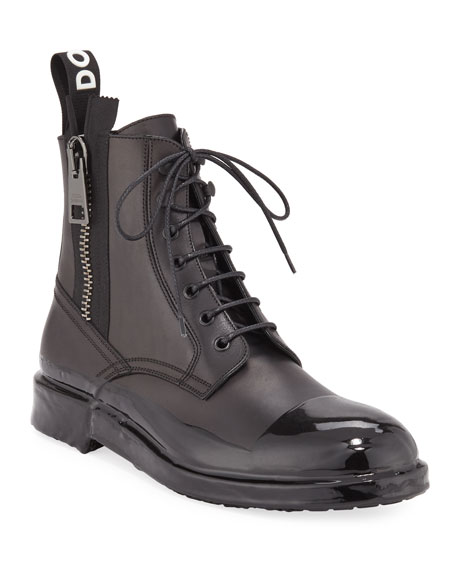 Image 1 of 1: Men's Cap-Toe Leather Combat Boots