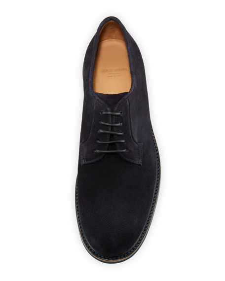 Men's Suede Low-Top Derby Shoe, Navy