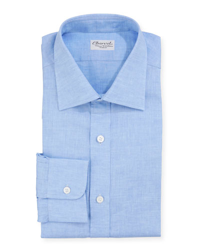 Men's Solid Linen Dress Shirt  Blue
