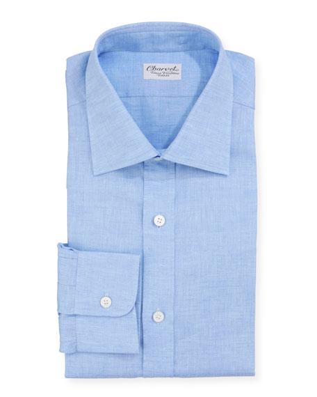 Men's Solid Linen Dress Shirt, Blue