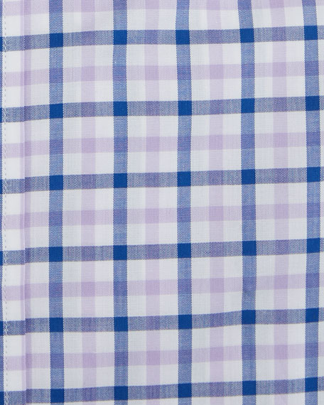 Men's Two-Tone Plaid Dress Shirt, Pink/Purple