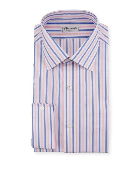 Men's Vertical Stripe Dress Shirt, Pink/Blue