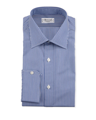 Men's Vertical Stripe Dress Shirt  Navy