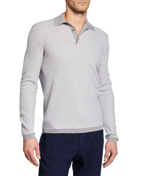 Men's Wool Long-Sleeve Polo Shirt