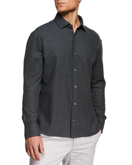 Image 1 of 1: Men's Heathered Knit Sport Shirt