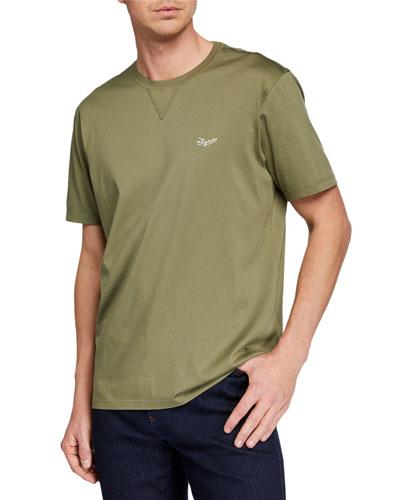 Men's Embroidered-Logo T-Shirt  Dark Green