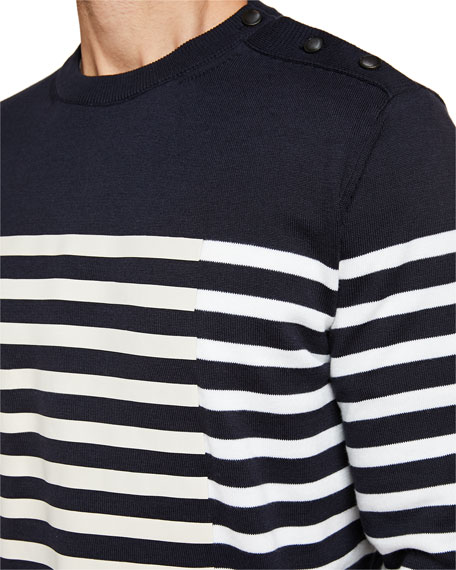 Men's Striped Crewneck Sweatshirt with Buttons
