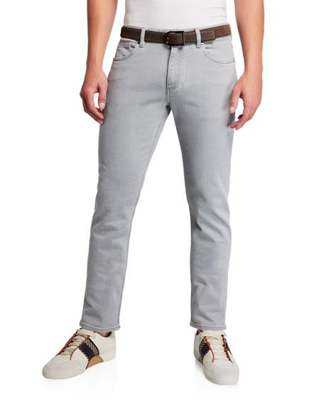 Men's Gray-Wash Five-Pocket Jeans