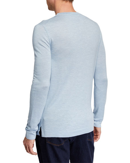 Men's Cashmere-Blend Crewneck Sweater, Blue