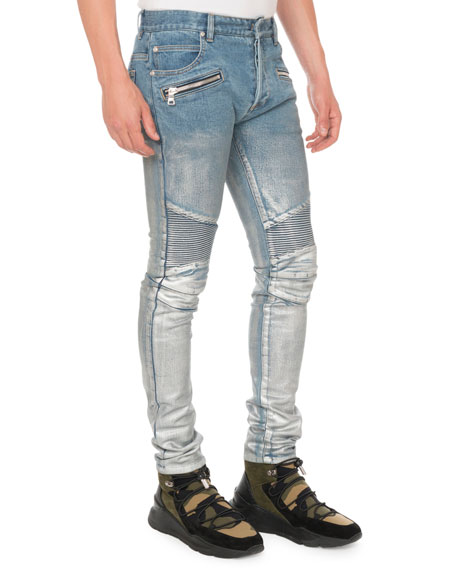Men's Slim Ribbed Zip-Pocket Jeans