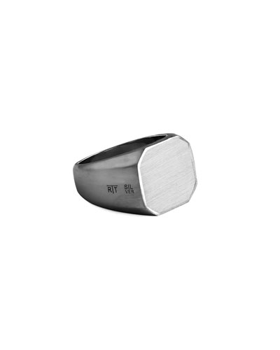 Men's Rhodium-Plated Signet Ring