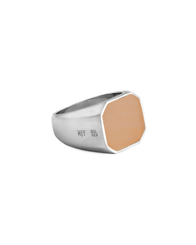 Men's Rose-Inlay Signet Ring