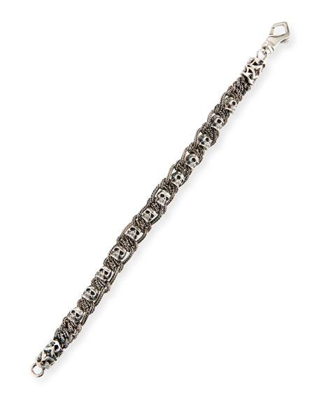 Men's Braided Skulls Sterling Silver Bracelet