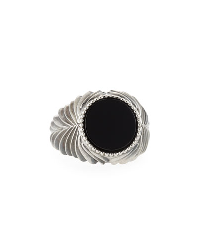 Men's Feathered Black Onyx Ring