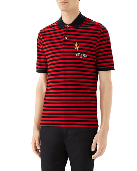 Men's Striped Pique Polo Shirt with Patches