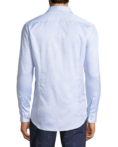 Men's Tonal Paisley Woven Sport Shirt, Blue