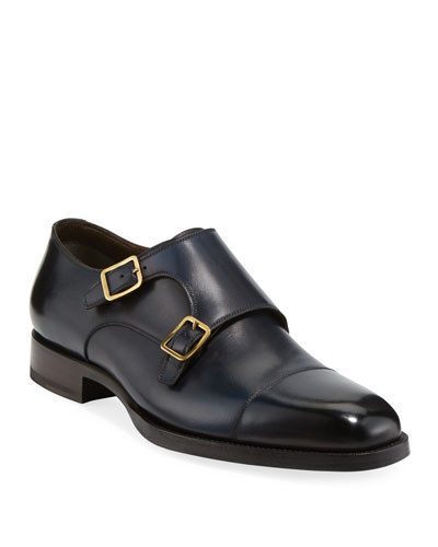 Men's Burnished Double-Monk Leather Loafers