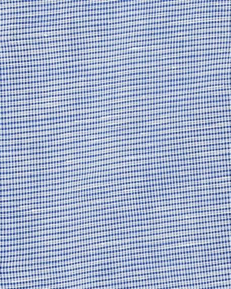 Men's Cotton/Linen Check Dress Shirt