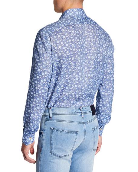 Men's Chambray Flowers Cotton Dress Shirt