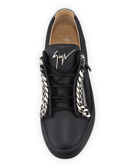 Men's Curb-Chain Leather Sneakers