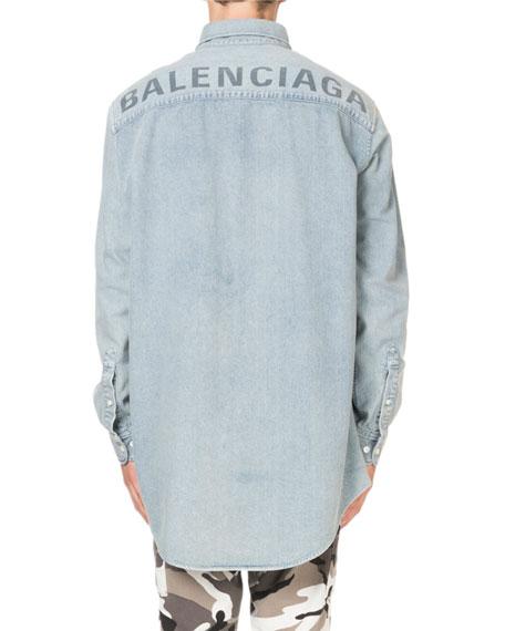 Men's Washed Denim Oversized Shirt with Logo