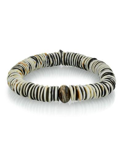 Men's Vinyl & Moroccan Bead Bracelet  Size M
