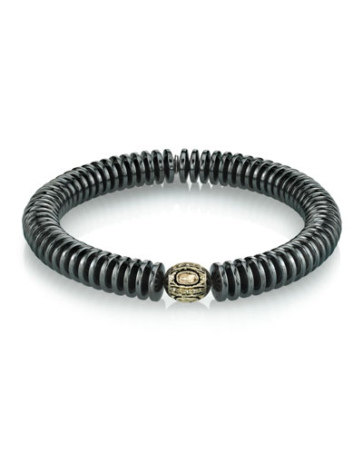 Men's 10mm Hematite & Diamond Bracelet  Size M