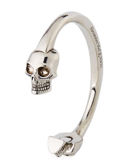Men's Large Twin-Skull Coated Brass Bracelet, Silver