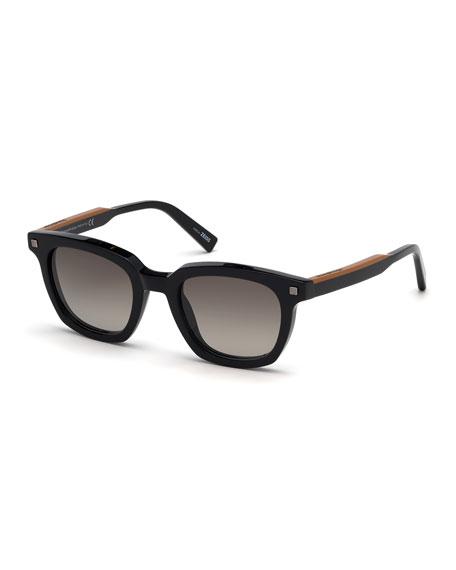 Men's Shiny Vicuna Square Sunglasses