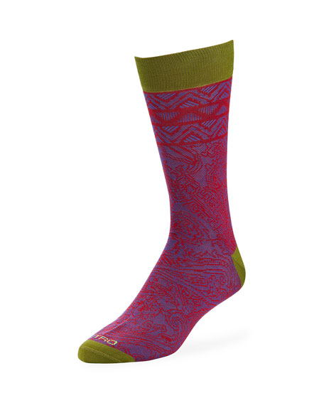 Image 1 of 1: Men's Paisley Cotton Socks