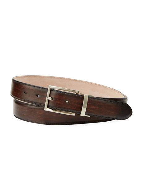 Men's Streak Leather Square-Buckle Belt