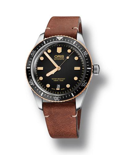 Men's 40mm Diver Bracelet Watch w/ Bronze  Black/Brown