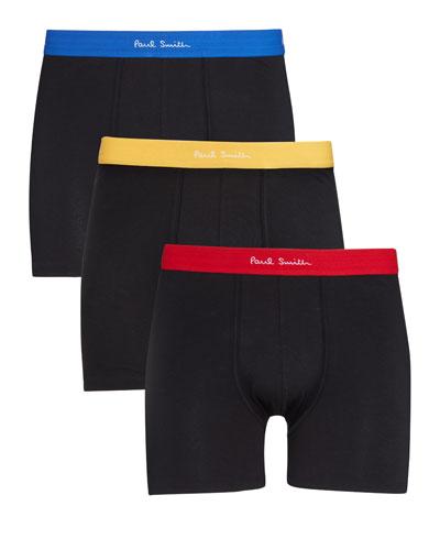Men's 3-Pack Contrast-Trim Long-Leg Trunks