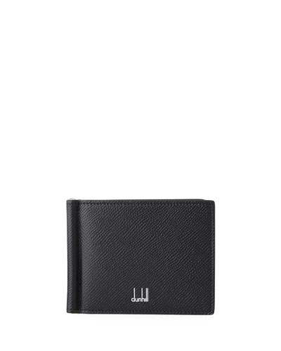 Men's Textured Leather Wallet with Money Clip